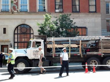 Debris fell from a scaffolding truck in Chelsea on May 31, 2012.