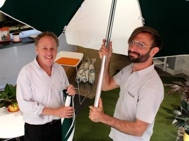Bob Zuckerman (left) and Michael Piper (right) showoff some of the equipment that has arrived for Daylife.