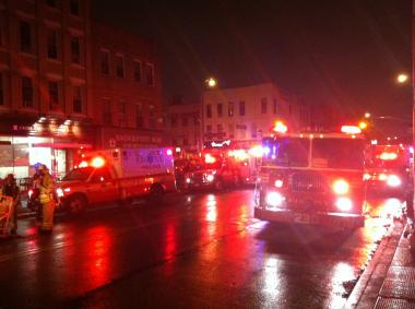 Fire trucks lined up for a fire on June 1, 2012 at 147 Conselyea Street.