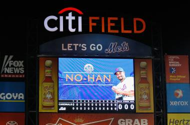 The scoreboard after starting pitcher Johan Santana #57 of the New York Mets threw a no-hitter against the St. Louis Cardinals at CitiField on June 1, 2012.