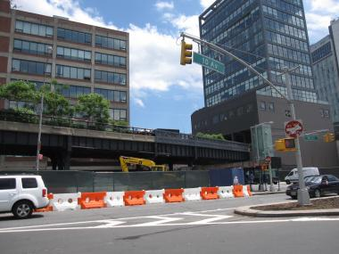 The area of construction where an explosion occurred June 1, 2012, underneath the High Line park.