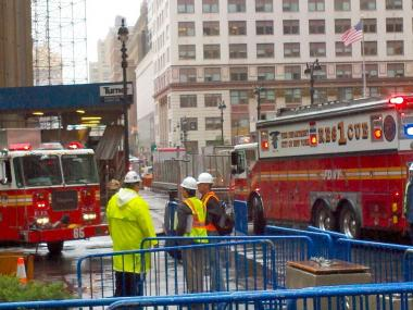 Firefighters raced to the World's Most Famous Arena at 4 Pennsylvania Plaza just before 9:30 a.m. to battle a fire on the roof, an FDNY spokesman said.