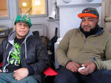 Chris Ramirez, 25, and Sebastian Lee, 31, said getting the Air Yeezy II will make camping out for a week worth it.