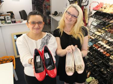 Sindy Sagastume (left) and Sydney Pringle (right) are partnering to bring tiny shoes to small feet.