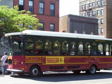 The Bronx Culture Trolley parked at Westchester Square. The free trolley ferries visitors to South Bronx cultural sites on the first Wednesday of each month.