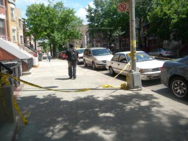 Police tape on a street on June 6, 2012.