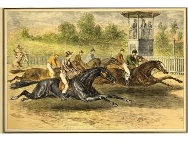 A lithograph of a May 23, 1867, race at Jerome Park. The track was the original site of the Belmont Stakes.