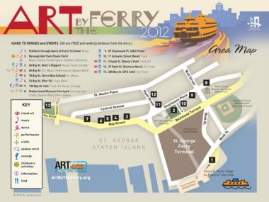 "The map of locations with art events at this year's ""Art by the Ferry"" festival, which starts on June 8, 2012."
