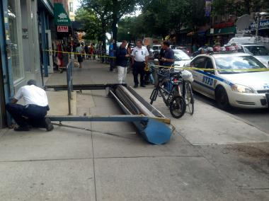 A gate came crashing down at President Street and Fifth Avenue in Brooklyn on June 7, 2012.