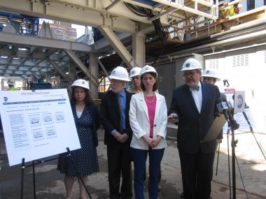 Michael Horodniceanu unveiling the MTA's new air monitoring site for the Second Avenue subway construction on Friday, June 8, 2012.