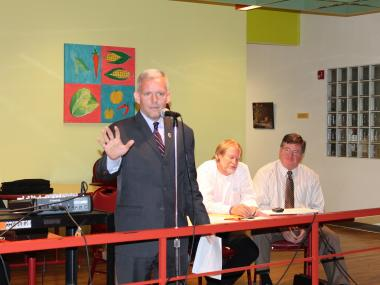 Council Member Jimmy Van Bramer came to the Thursday meeting to express his support for the union
