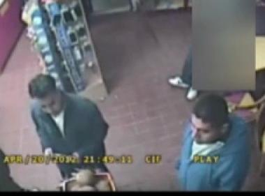 Two men suspected in an assault on April 21, 2012.