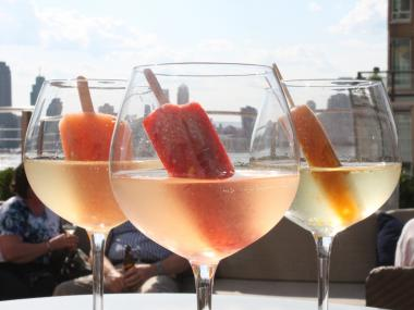 The Loopy Doopy Lounge at the Conrad NYC sells several varieties of boozed-up frozen fruit pops.