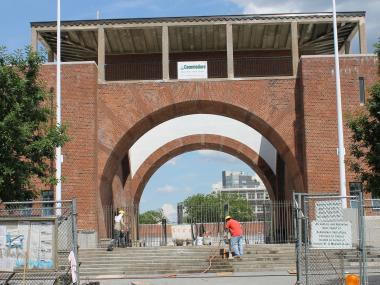 McCarren Pool is in its final phase of reconstruction. The pool will open to the public June 28.