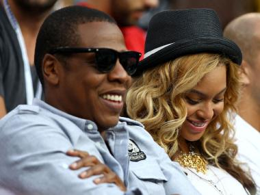 Jay-Z and Beyonce at the U.S. Open on September 12, 2011.
