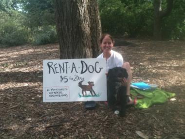 "Katherine Long with her dog Ocho in Central Park on June 2, 2012. She ""rented"" him out for walks to raise money for an animal rescue group."