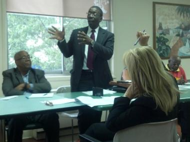 Frederick Shack, executive director of Urban Pathways, detailed his agency's plan to create housing for formerly homeless adults with mental illness on East 162nd Street at a meeting of Community Board 4 members.