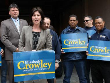 Democratic candidate Elizabeth Crowley, who is running for the sixth congressional district seat was endorsed Tuesday, June 12, 2012,  by the Uniformed EMT's, Paramedics and Fire Inspectors.