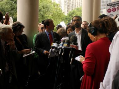 "Fahd Ahmed, Legal and Policy Director of the organization ""Desis Rising Up and Moving"" in Jackson Heights, spoke out against ""stop-and-frisk"" with Councilman Brad Lander, on June 13, 2012."