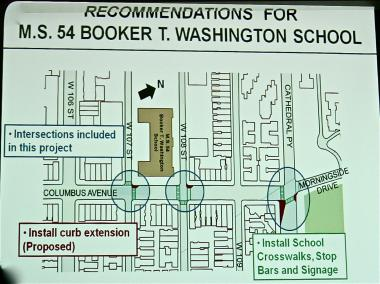 The Department of Transportation has proposed a series of curb extensions around Booker T. Washington middle school.