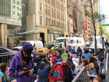 A crowd of hundreds of mostly teenage girls sprung up in front of NBC studios in anticipation of Justin Bieber's performance on the Today Show, June 14, 2012.