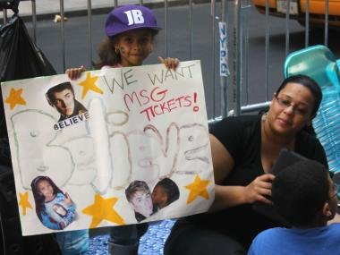 Fans of all ages waiting in line for more than 24 hours to see Justin Bieber in person.