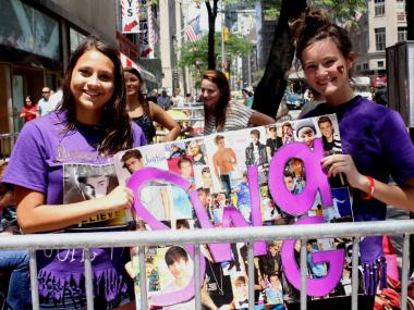 "McKenna Kelly, right, and Kaitlyn Heck, both 16 from Annapolis, MD, had been camped out since 8 am. They said they ""do this every year"" to come see Bieber perform."