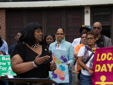 Councilwomen Debi Rose promised to fight the cuts and the new ACS funding process at a rally at the Friends of Crown Heights Daycare Center, Stapleton, on June 14, 2012.