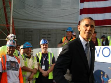 President Barack Obama thanked workers at the World Trade Center site June 14, 2012.
