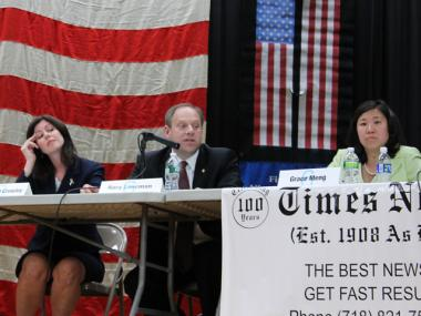 Councilwoman Elizabeth Crowley, Assemblyman Rory Lancman and Assemblywoman Grace Meng during the congressional debate on June 14.
