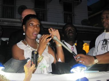 Constance Malcolm, mother of Ramarley Graham, gave a fiery speech on June 14, 2011 outside of her home in the Bronx where her son was killed.