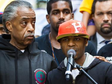 Nate Polite, 20, a victim of the NYPD Stop-and-frisk policy with the Rev. Al Sharpton on June 17th, 2012.