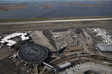 An aerial view of John F. Kennedy Airport. Port Authority Police apprehended a suspect at the airport who was wanted by the NYPD March 13, 2013.