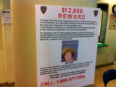 Cops and relatives are offering a $12,000 reward for information leading to the killer of Evelyn Shapiro, who was found bludgeoned to death on June 16, 2012.
