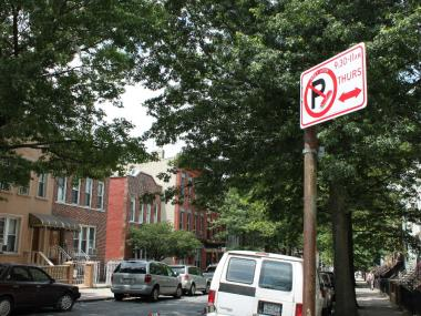 An alternate side parking sign in Sunset Park.