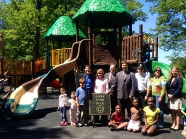 After being torched in a fire on Sept. 28, 2011, the playground at Alley Pond Park re-opened on June 18, 2012.