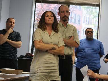 Sivan Harlap and the yet-to-be-named bar's future manager Andrew States listen to concerns over their new venture at a Community Board committee meeting.