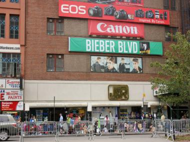 Bieber Blvd. was already packed hours before the pop star was scheduled to arrive.