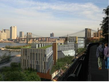 Rendering of the proposed hotel in Brooklyn Bridge Park.