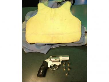 Police allegedly recovered this Ruger revolver and bullet-resistant vest while arresting Brandon Cordero Tuesday, June 19, 2012, the NYPD says.