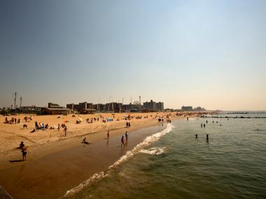Beach-goers at Coney Island Beach on June 21, 2012.