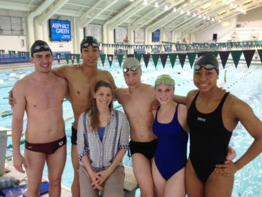 Asphalt Green Unified Aquatics (AGUA) Olympic Trial qualifiers (left to right) Griffin Schumacher, En-Wei Hu-Van Wright, AGUA Head Coach Rachel Stratton-Mills, Michael Domagala, Isla Hutchinson-Maddox, and Lia Neal at Asphalt Green's AquaCenter.