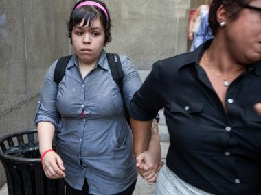 Lana Rosas, 26, leaves Manhattan Supreme Court after her attacker Oscar Fuller was sentenced to 1 year in prison on June 22nd, 2012.
