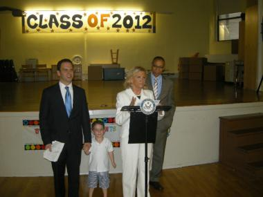 Rep. Carolyn Maloney speaks on Friday, June 22, 2012 with Schools Chancellor Dennis Walcott and State Assemblyman Dan Quart, who was with his son Sam, who will be attending P.S. 527 in the fall.