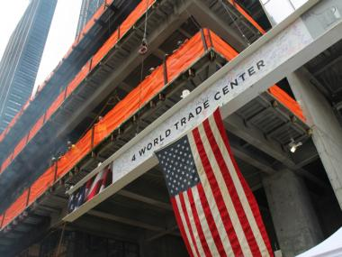 The final steel beam rose up 4 World Trade Center June 25, 2012.