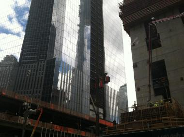 A worker fell at 4 World Trade Center June 26, 2012.