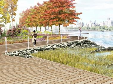Lincoln Equities plans to build a 40-foot-wide landscaped public waterfront esplanade park with pedestrian walkways and bike paths.