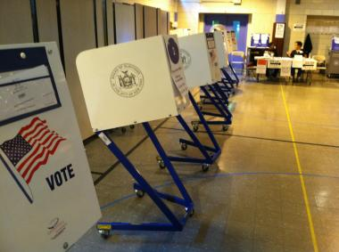 Empty voting booths at P.S. 321 in Brooklyn, where turnout was low.