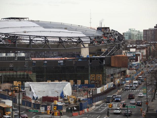 Seven construction firms on the city's caution list worked on the Atlantic Yards project.