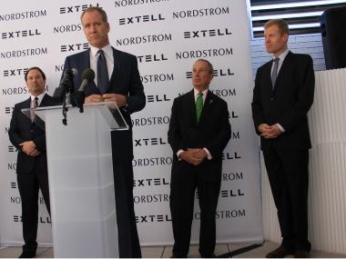 Left to Right, Gary Barnett, Peter Nordstrom, Mayor Michael Bloomberg, and Erik Nordstrom.
